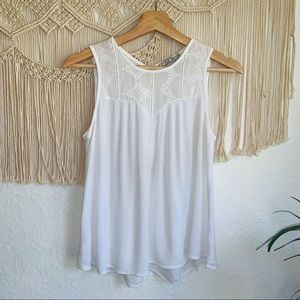 Chloe K Embroidered Sheer Tank Top Size XS